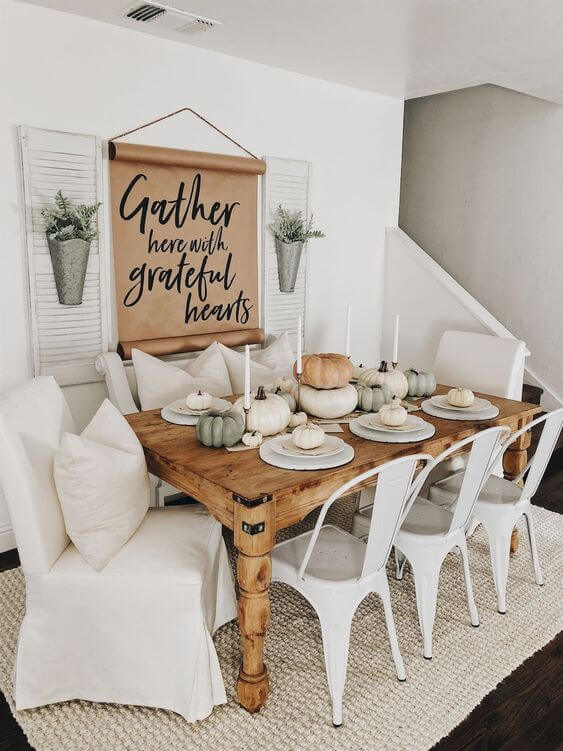 White style with inviting sign | Stunning Farmhouse Dining Room Design & Decor Ideas