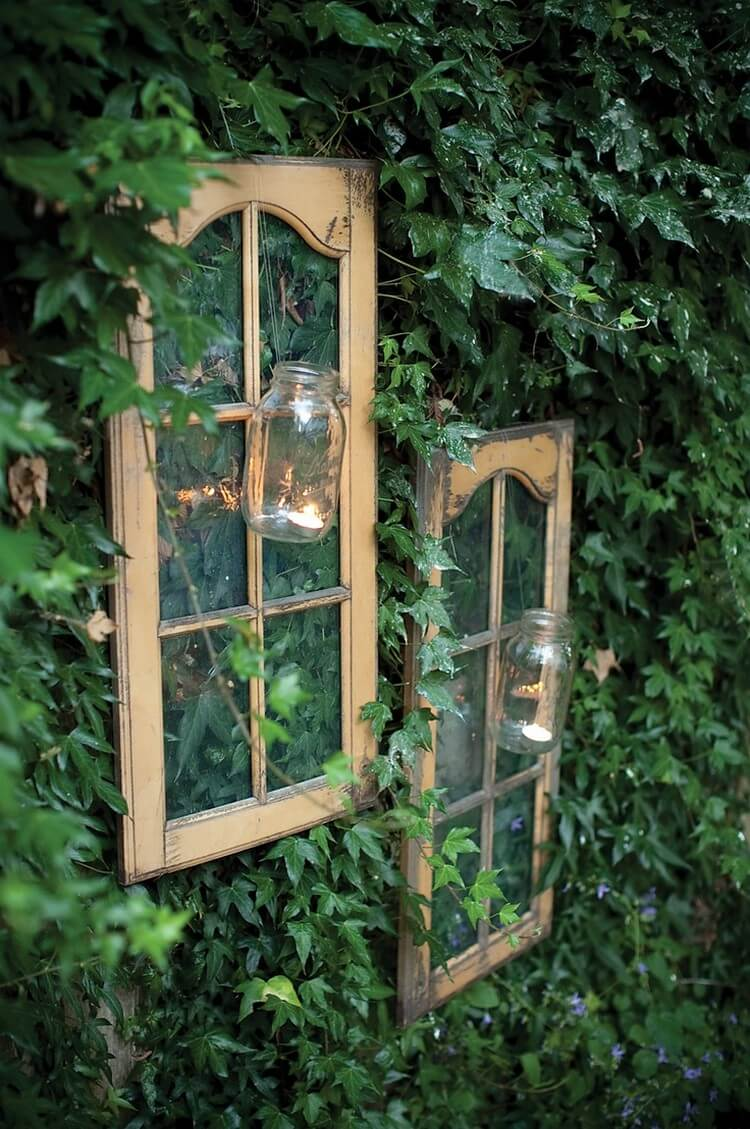 Mason Jars attached to the windows | Creative DIY Outdoor Window Decor Ideas