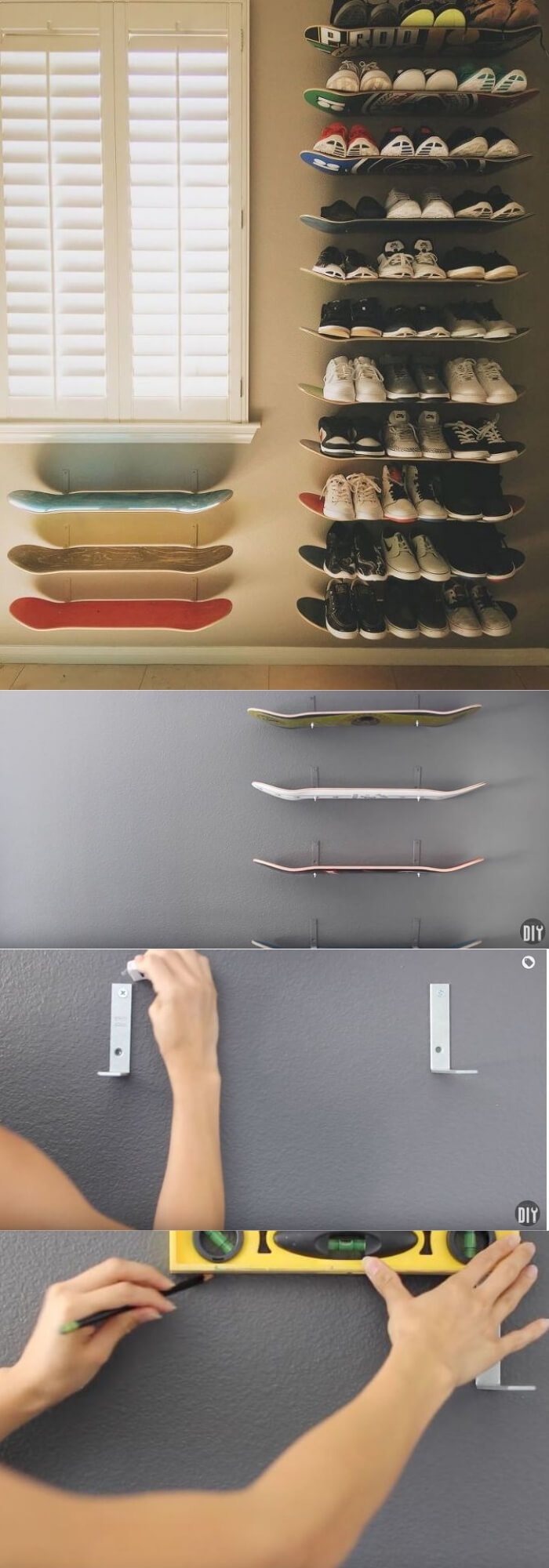 Shoe Shelves from skateboards