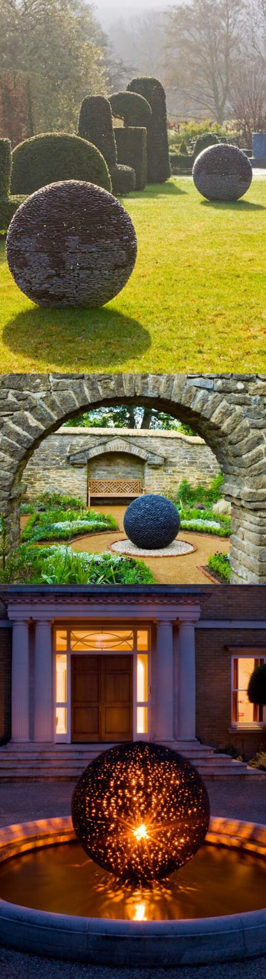 Garden Symmetrical Spheres from River Stones | Best DIY Garden Globe Ideas & Designs