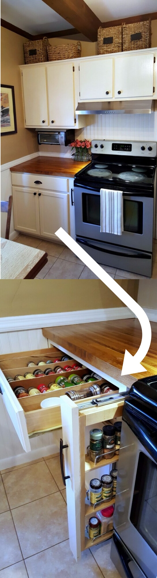 A pull out cabinet spice rack between the stove and the counter