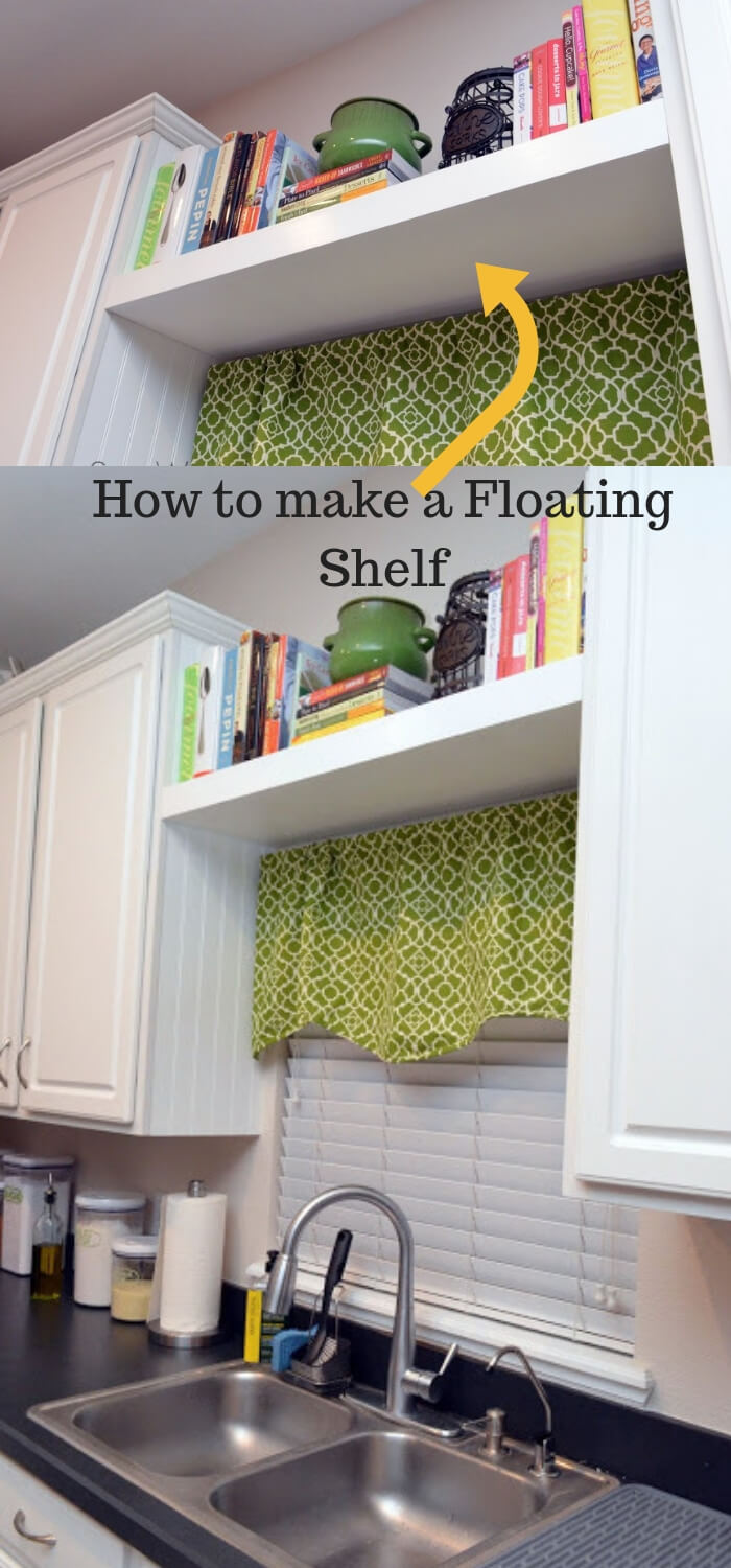 Make a Floating Shelf over space of kitchen sink