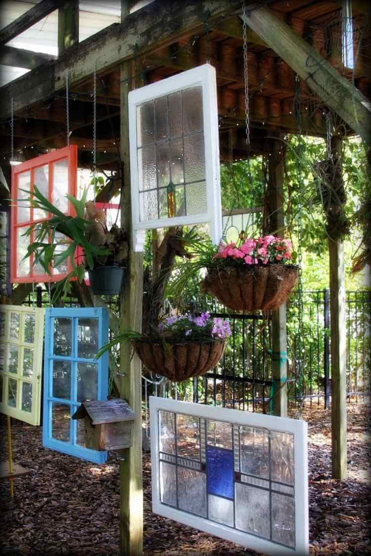 Hanging windows | Creative DIY Outdoor Window Decor Ideas