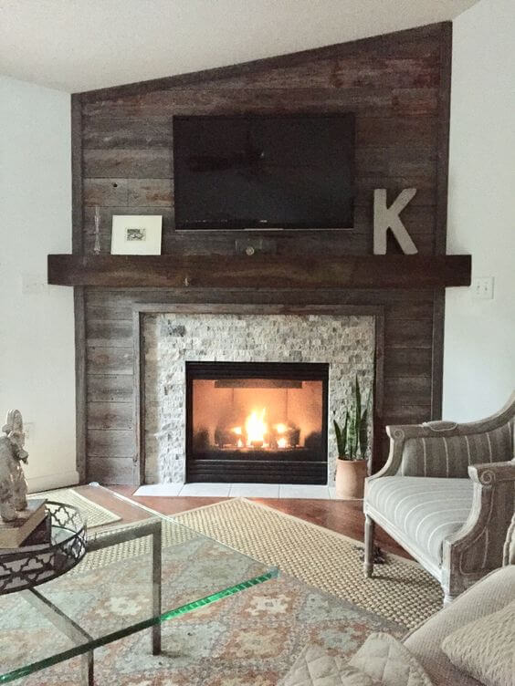 Corner fireplace renovated from box tv space