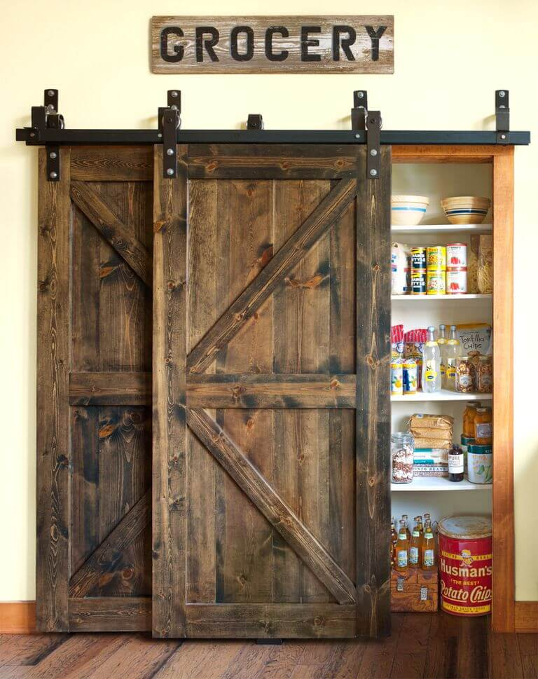 Wood Barn Doors with a vintage 'Grocery' sign | Inspiring Farmhouse Kitchen Design & Decor Ideas