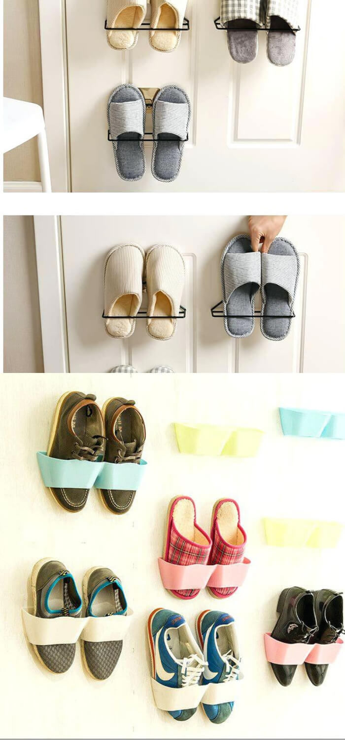 Adhesive Shoes Rack Wall Hanging | Smart Shoe Storage Ideas & Designs For Any Zoom Size