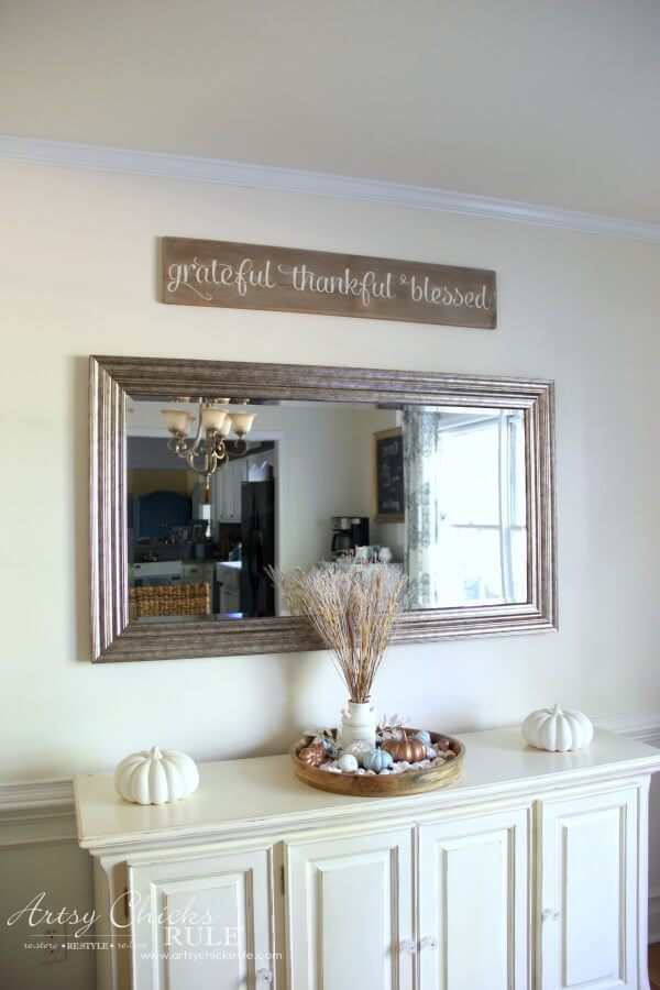 Grateful, Thankful, Blessed Weathered sign | Stunning Farmhouse Dining Room Design & Decor Ideas