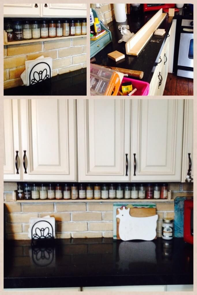 DIY Backsplash mounted Spice Rack