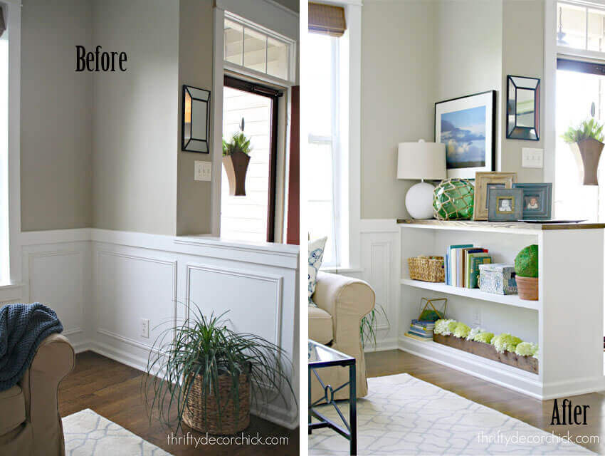 Half Wall Bookcase | Amazing Wainscoting Ideas for Your New Home
