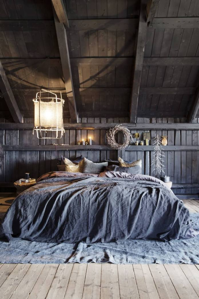 Cozy bedroom with fantastic lamp