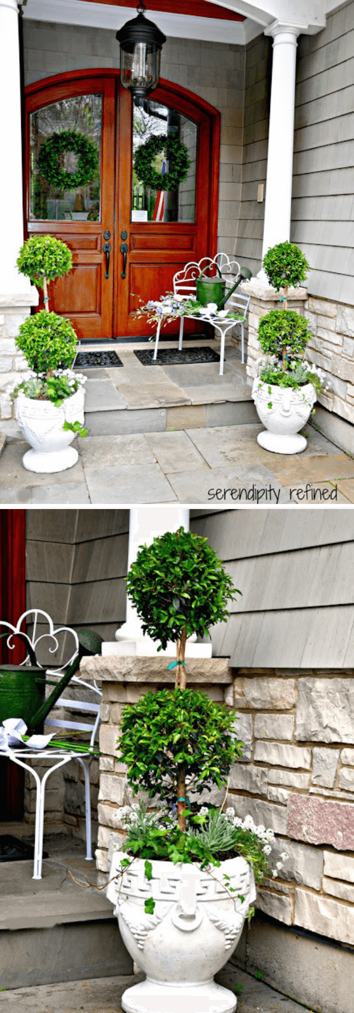Summer Urns and Container Gardens with Topiary trees