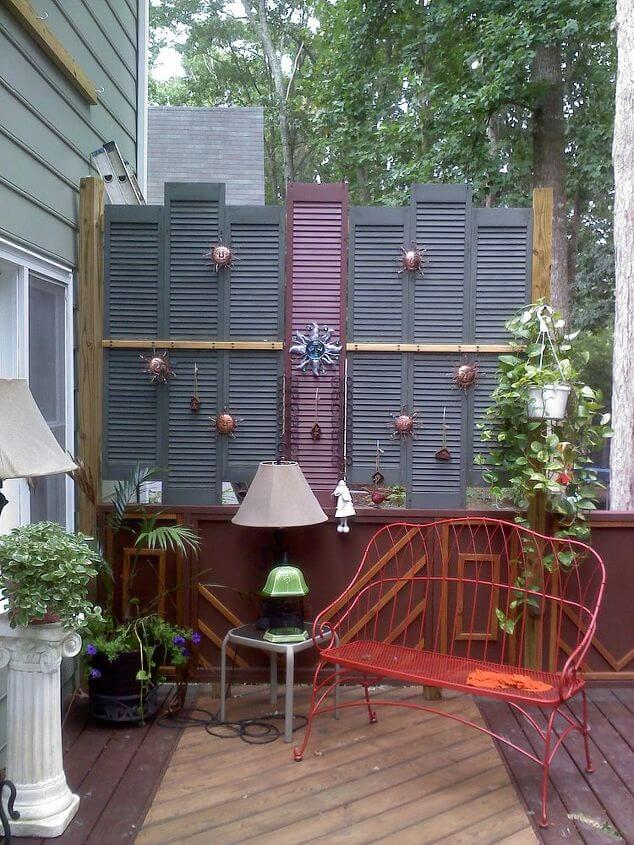 Old Shutter Outdoor Decor Ideas Privacy on the Deck from old shutters