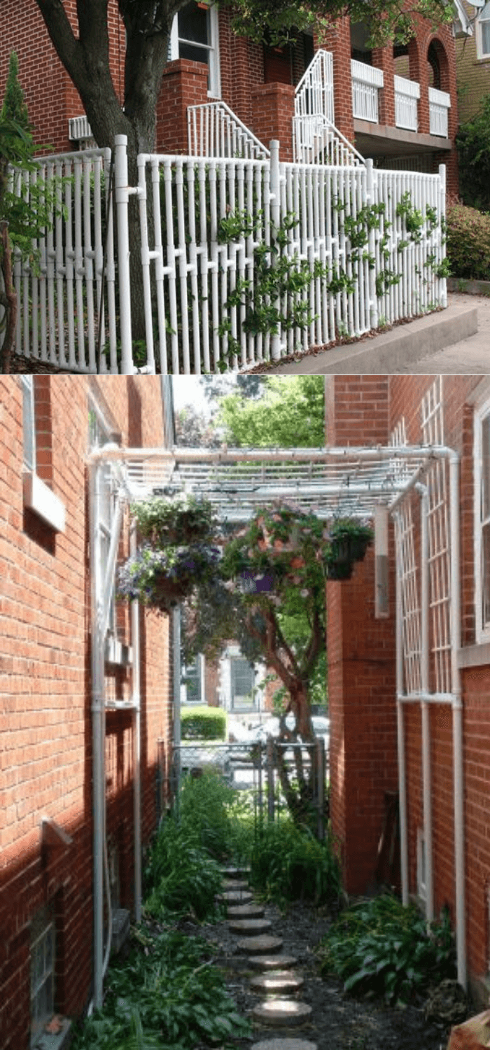 DIY PVC Pipe Planters for Your Garden PVC Trellis and fence