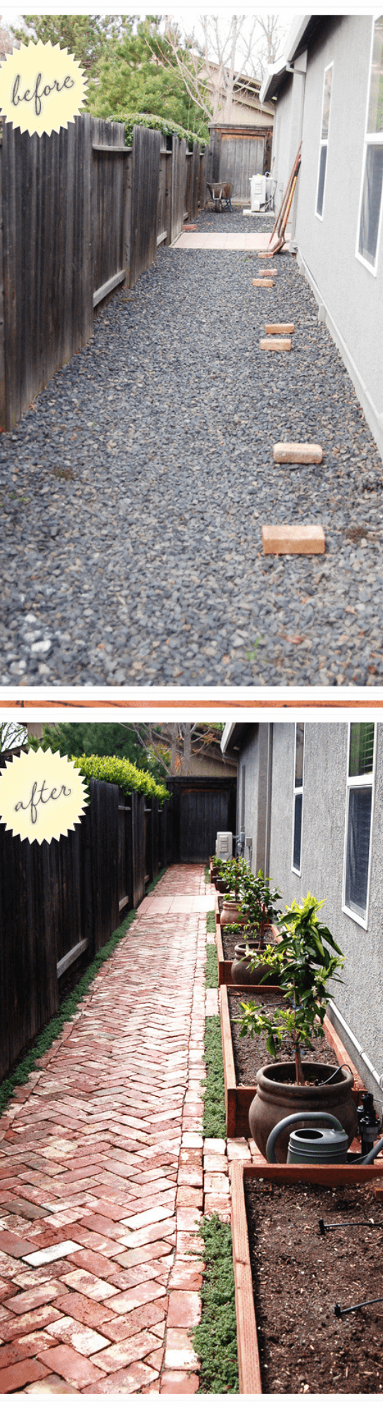 side yard: gravel to garden