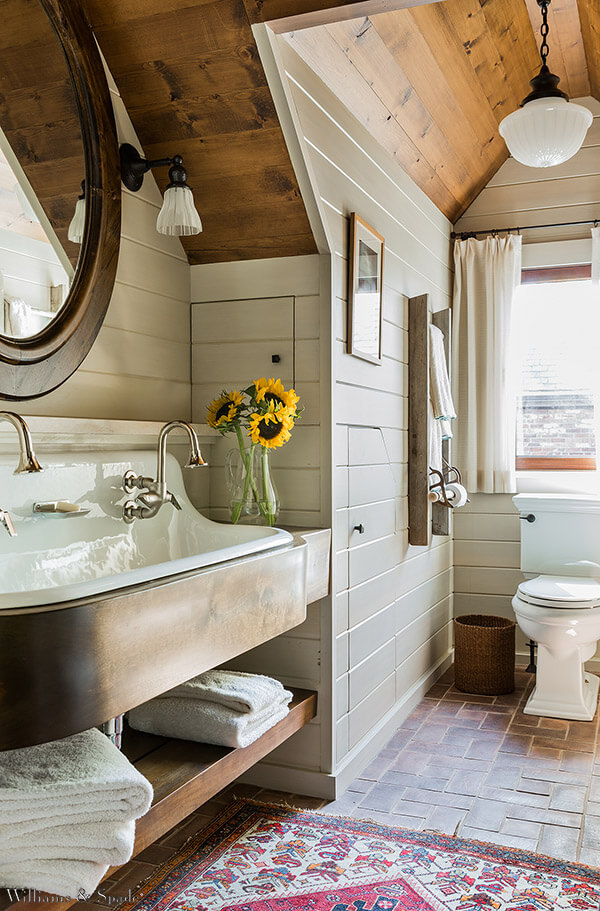 Charming Cottage Style Bathroom Ideas Double Width Sink