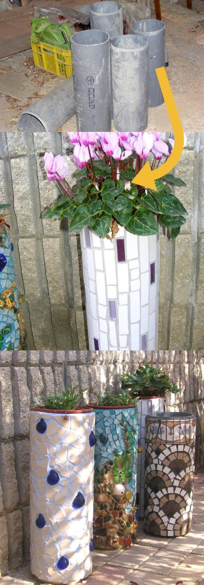 DIY PVC Pipe Planters for Your Garden Mosaic: Flower holder from PVC pipe