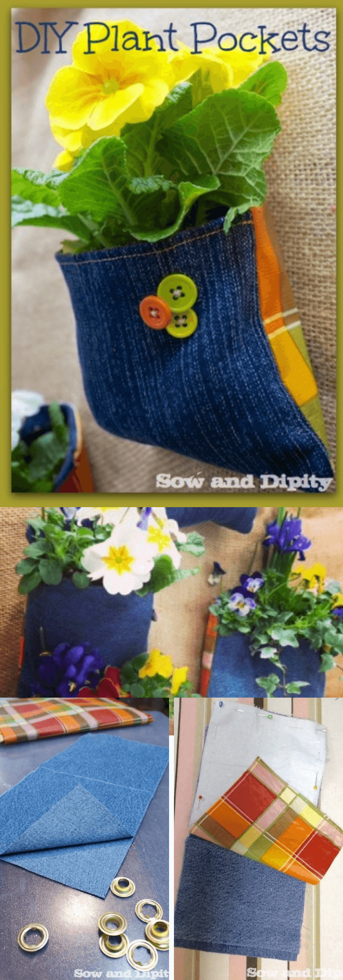 DIY Plant Pockets with Recycled Denim