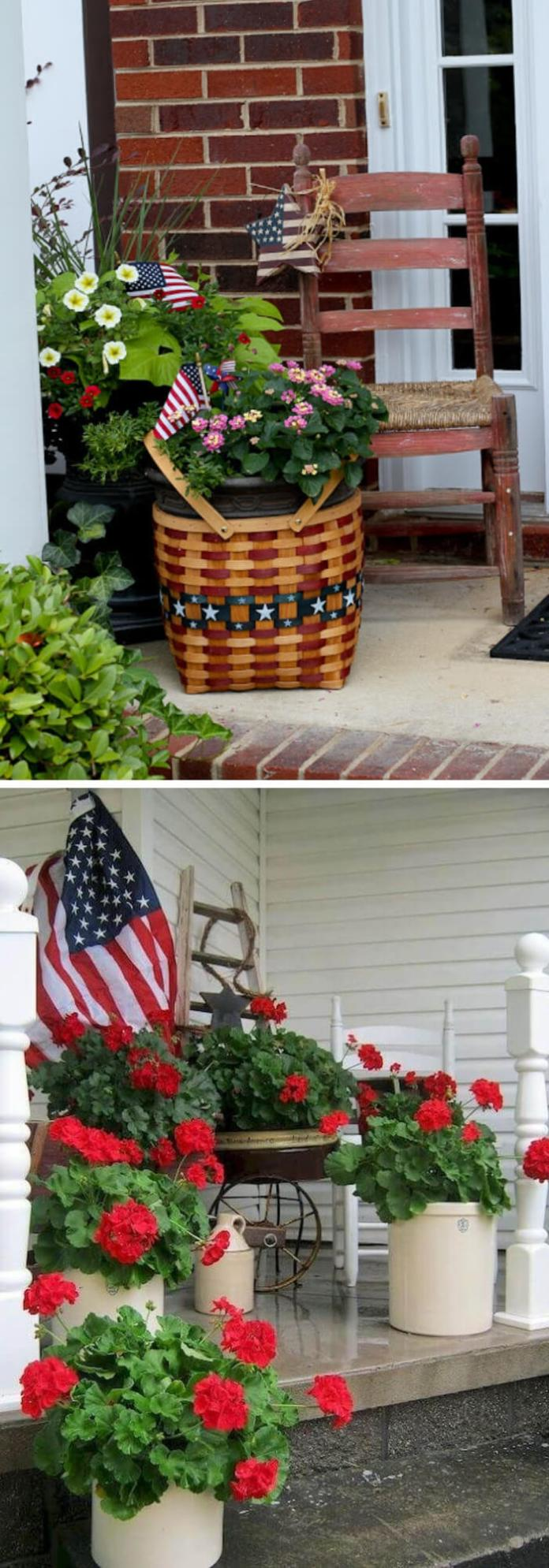 Patriotic basket with red verbena with white Bacopa