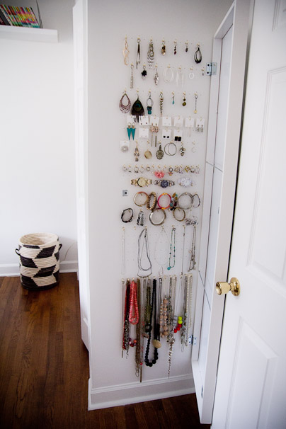 hooks where you can hang accessories and you can place them behind the door of the room