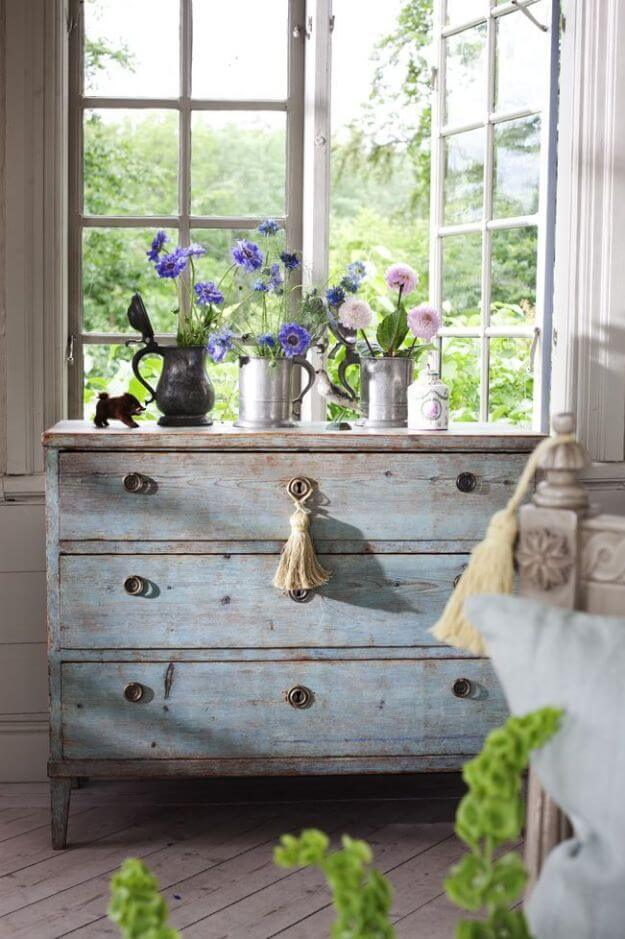 Reclaimed Wood Dresser with Flowers
