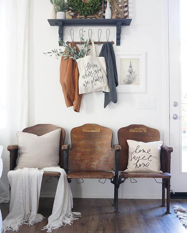 Vintage seating with a barn hanging