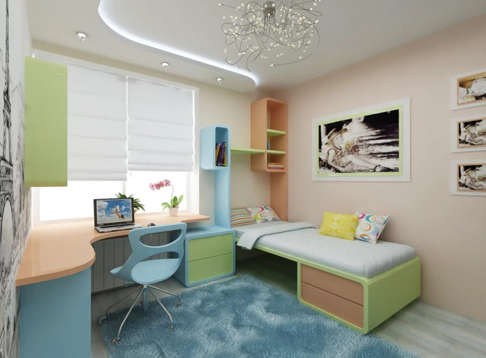 Room with pastel furniture