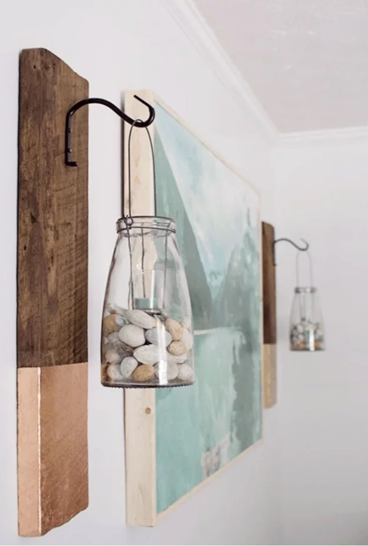 jars with stones hanging on the walls