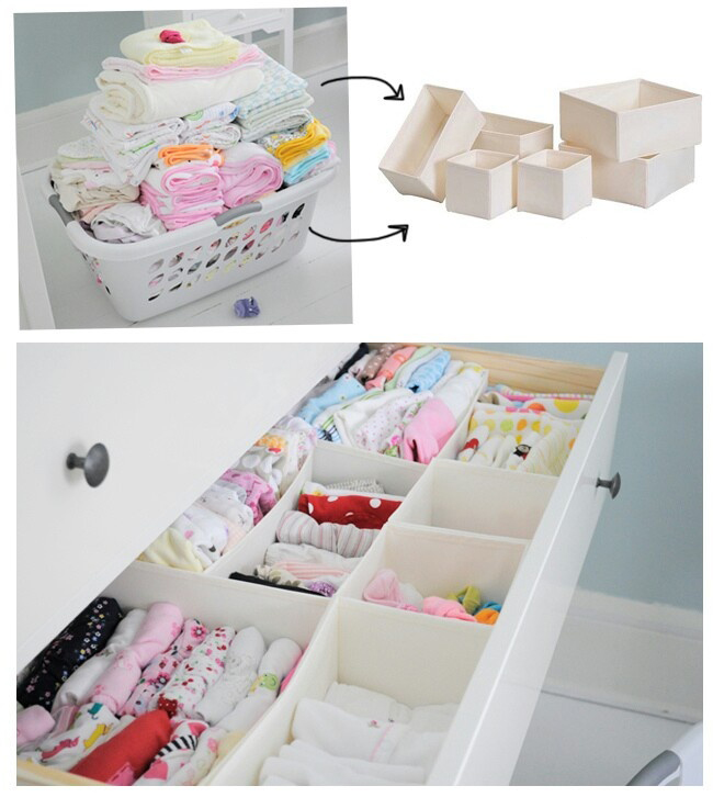 drawers to organize the drawers with baby clothes