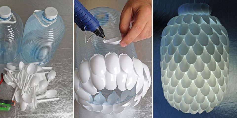 Lamp with plastic spoons