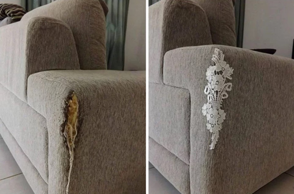 The lace placed for armchair rips