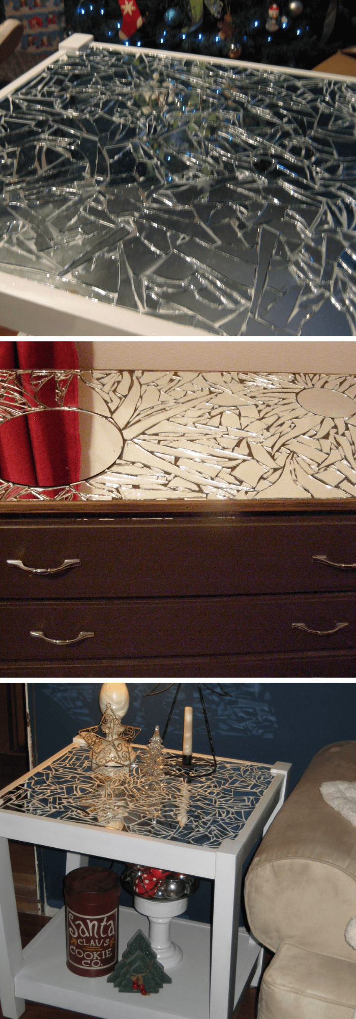 Transform old furniture (closet, table) by using broken mirrors