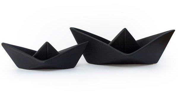 Pair of decorative ceramic black boats