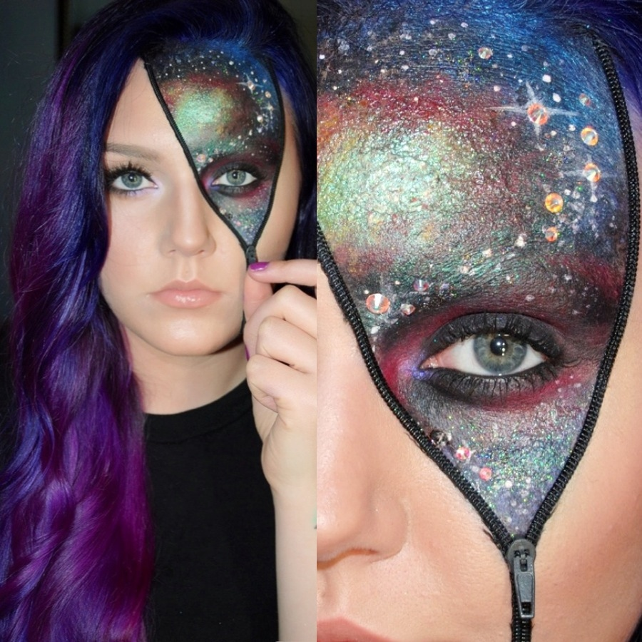 Girl with halloween makeup with a zipper and half of the face like a galaxy