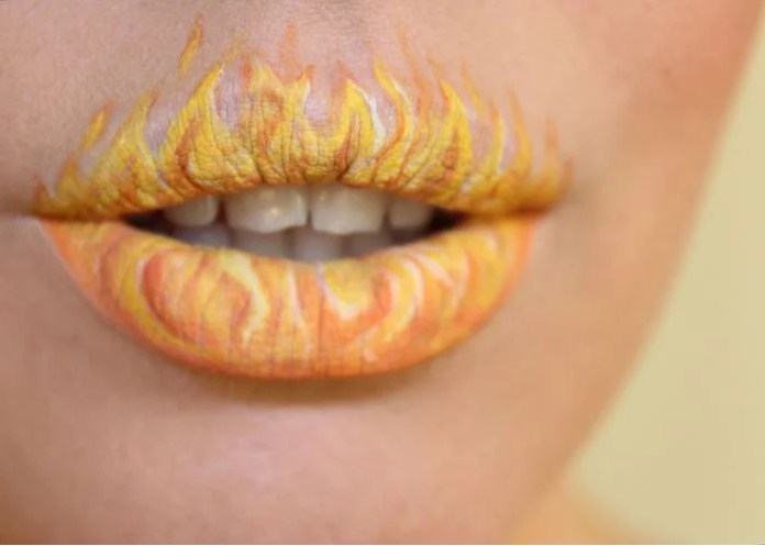 Design of lips for halloween in the form of fire flames