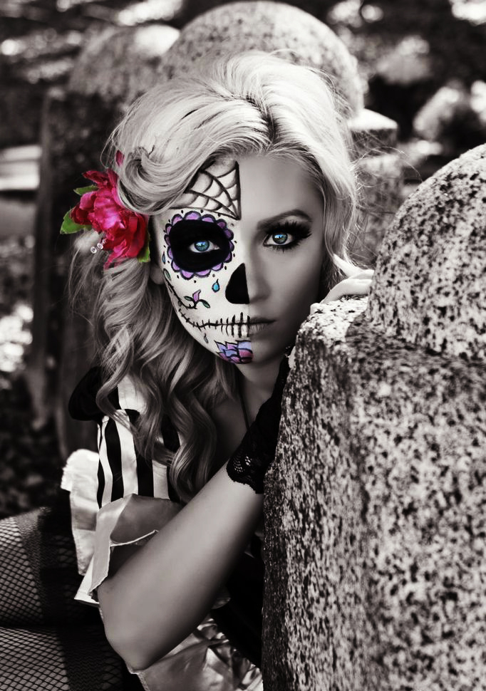 Girl with makeup for catrina halloween