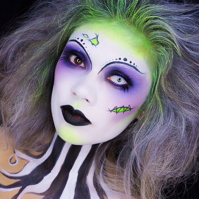 Girl with makeup for beatlejuice halloween