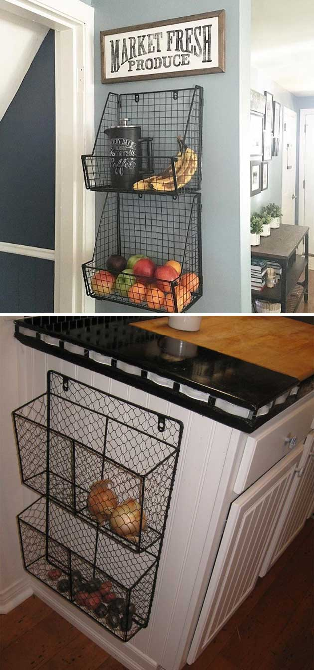 Attach wire baskets to the wall