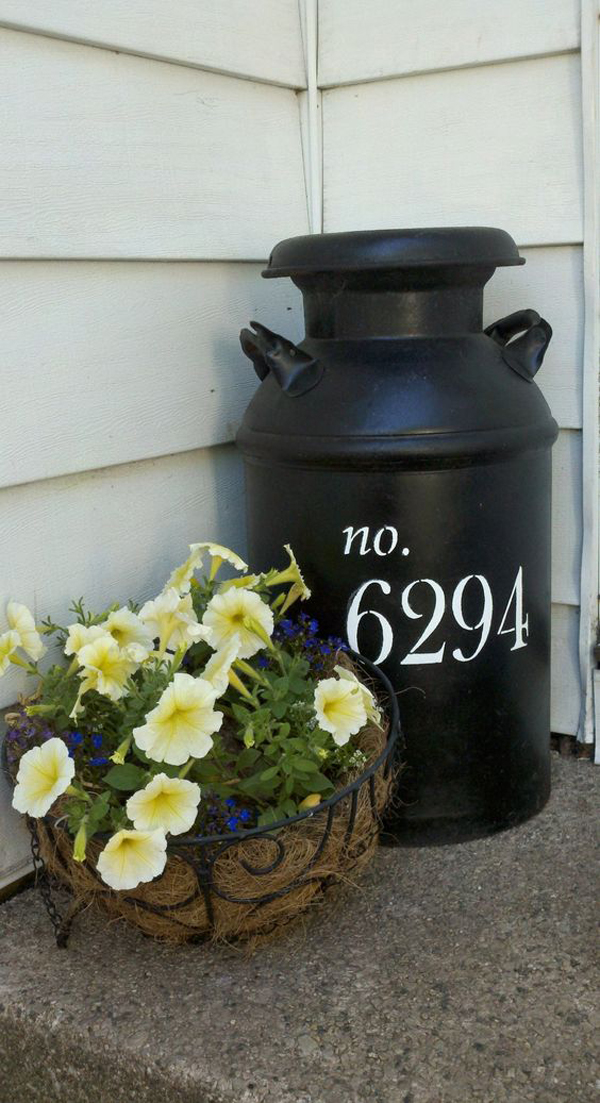 DIY House Number Milk Jug