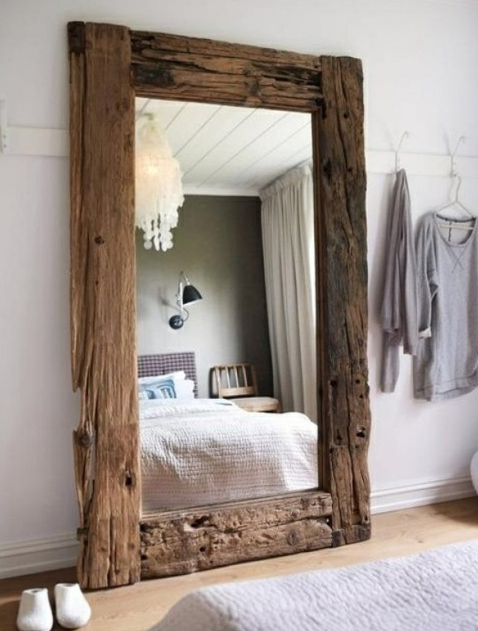 Standing mirror with wooden frame