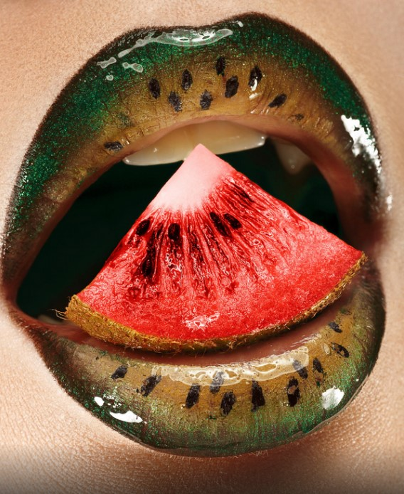 Lip design for halloween in the shape of a watermelon