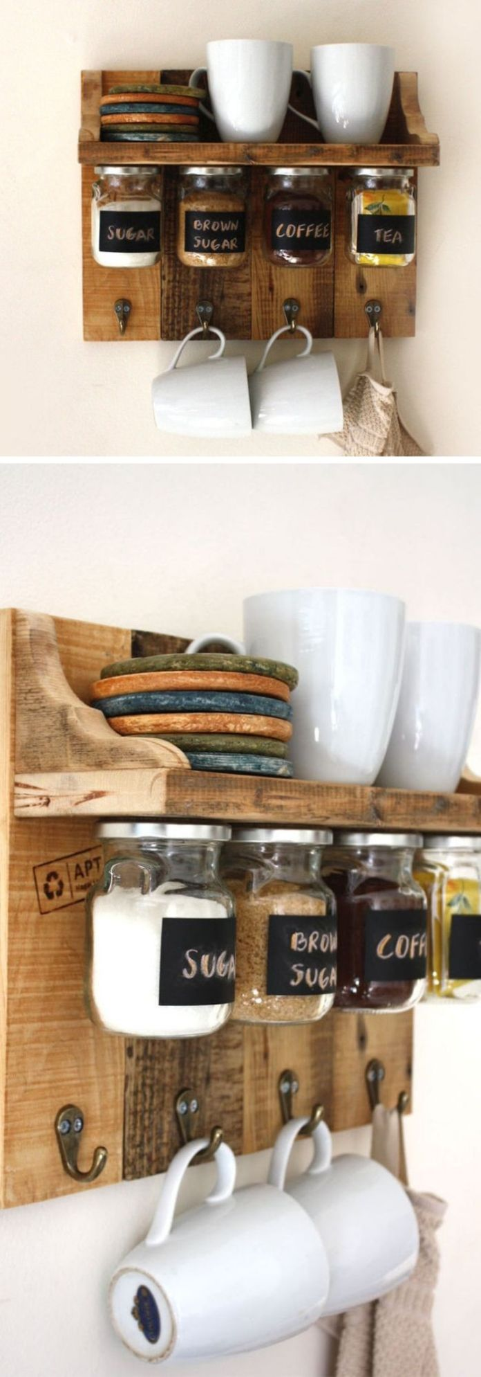 Gorgeous spices or coffee shelf with hanging jars