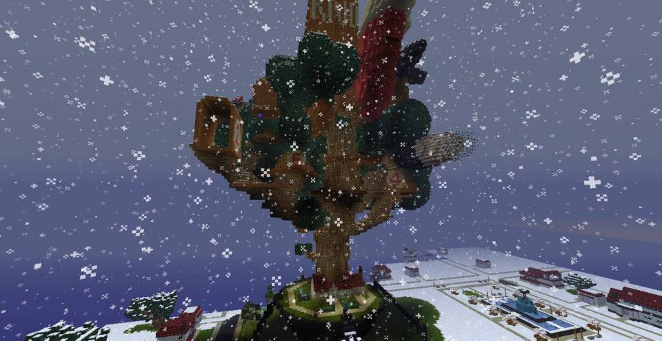 Minecraft treehouse in snow
