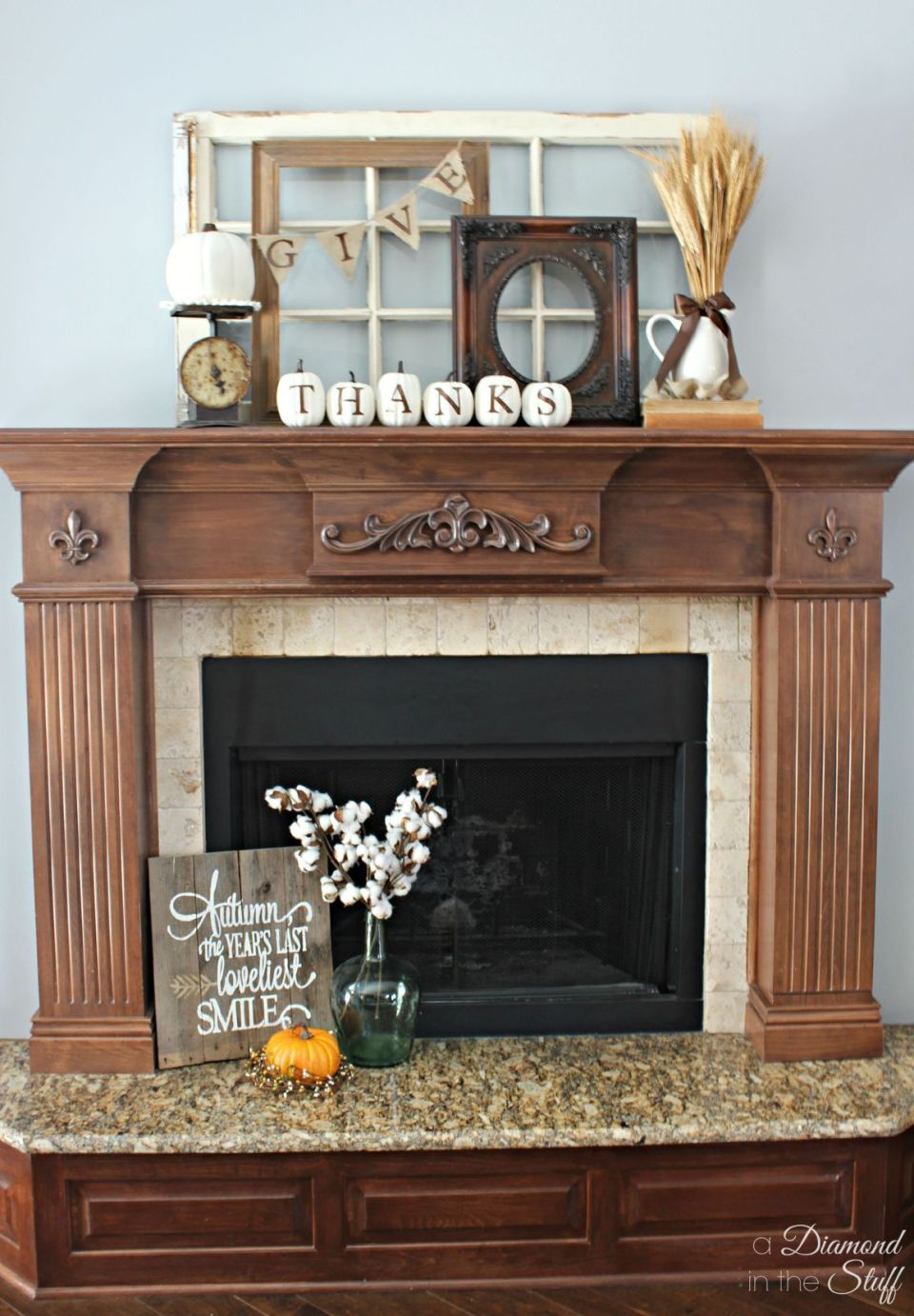 Thanksgiving mantel decorating