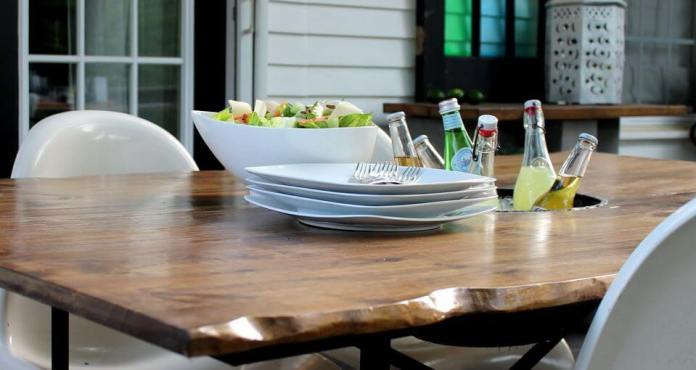 Faux Live Edge Patio Table with Built-in Ice Bucket