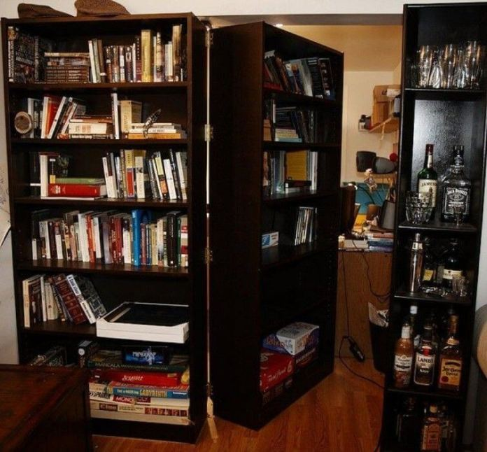 Secret door with moving bookcases