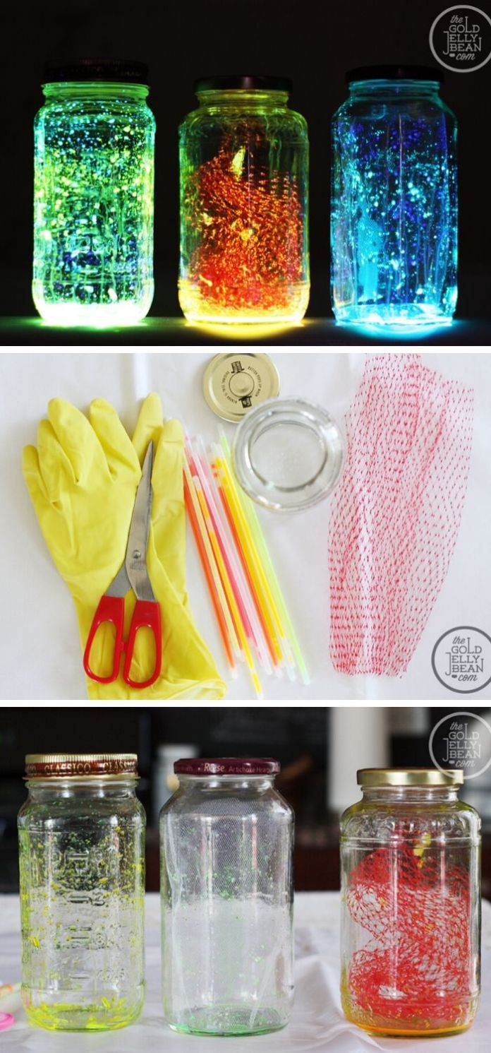 Making a glowing fairy jar with glowing sticks and a piece of tulle
