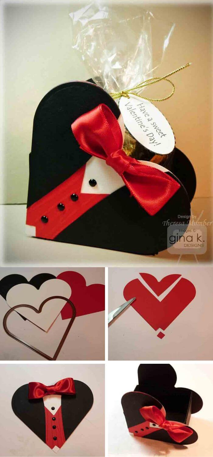 Tuxedo heart box | Heart-Shaped Crafts For Valentine's Day