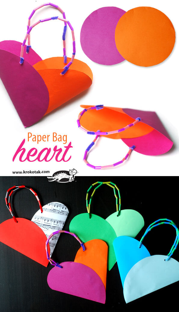 Paper bag heart | Heart-Shaped Crafts For Valentine's Day