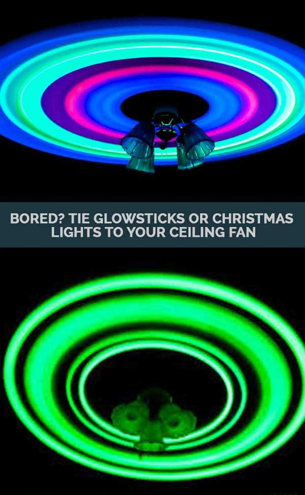 Taping glow stick to ceiling