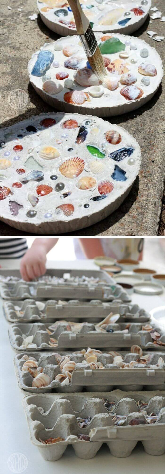 DIY sea shell mosaics | Beach-Style Outdoor Ideas For Your Porch and Backyard